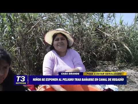 NIÑOS SE EXPONEN AL PELIGRO TRAS BAÑARSE EN CANAL DE REGADÍO
