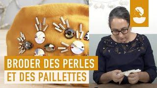 """Martine Biessy vous propose de la suivre dans le nouveau cours vidéo de notre série """"Les essentiels broderie : perles et paillettes"""". Grâce à ce cours vous ..."""