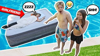 GIRLFRIEND WAKES UP IN SWIMMING POOL PRANK! **FUNNY REACTION**😂😴 |Lev Cameron