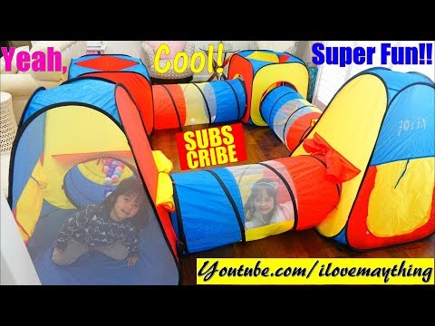 Toddlers and Children's Play Tent! Tunnel Play Tent Playtime Fun with our Cute Puppies! Toy Channel