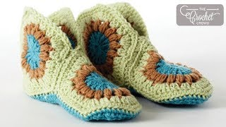 Repeat youtube video How to Crochet Slippers: Granny Slippers