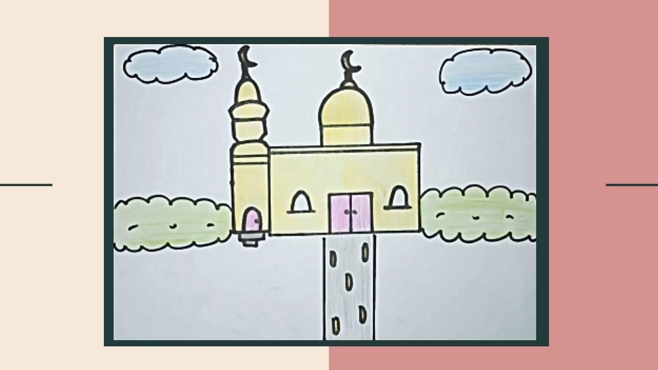 رسم سهل تعليم رسم جامع مسجد خطوة بخطوة رسم للمبتدئين Youtube