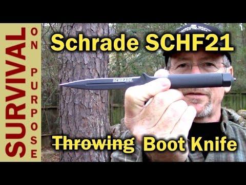 Schrade SCHF21 Boot Knife. One Piece Forged Steel!