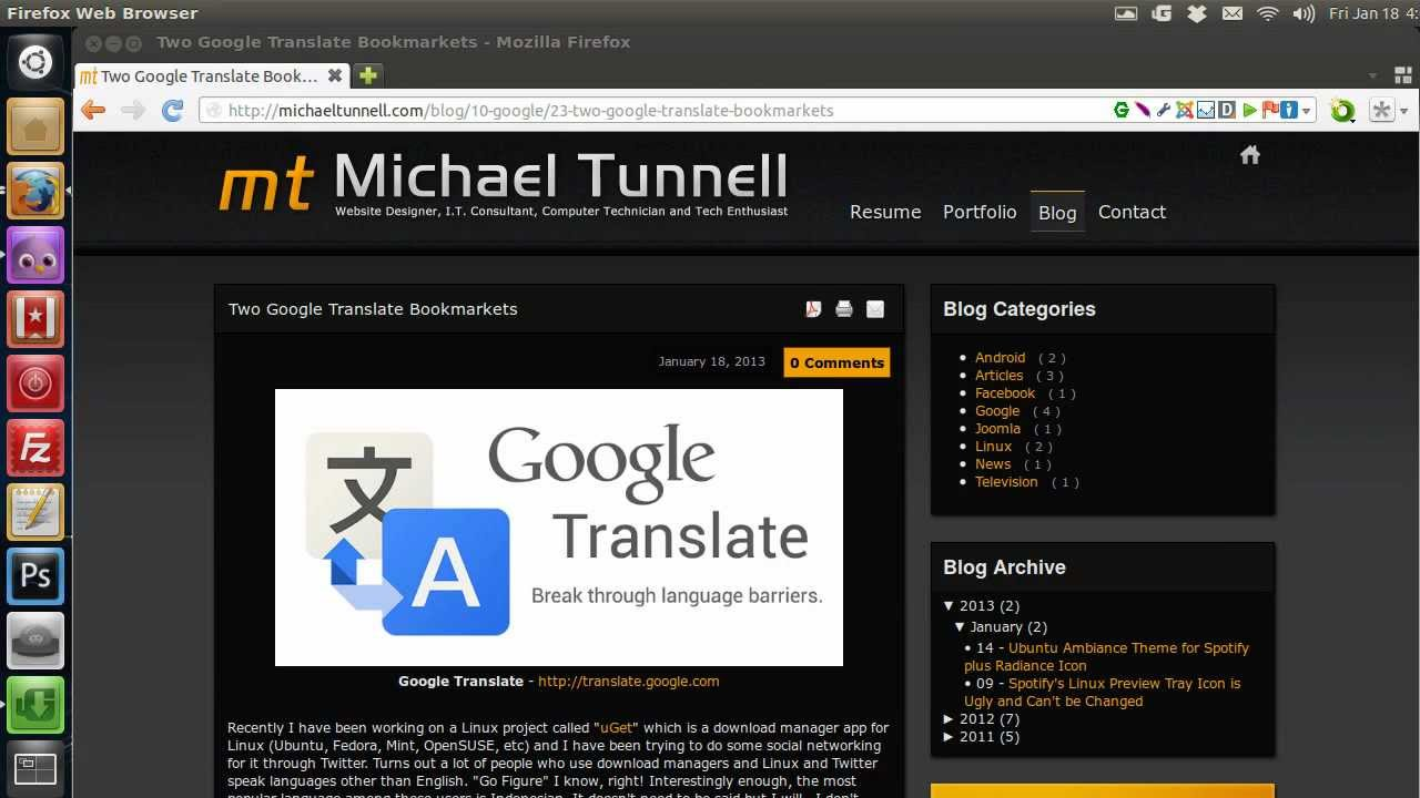 Two Google Translate Bookmarkets · Michael Tunnell