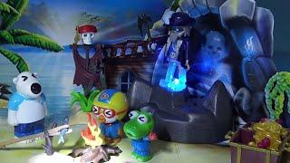 바다에서 태풍을 만나 무인도에 표류~ 해적 유령 보물섬에서 보물을 발견! 고래 출현~ ❤ 뽀로로 장난감 애니 ❤ Pororo Toy Video | 토이컴 Toycom