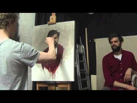 Tutor Archie Wardlaw Painting Chris Gray's Portrait