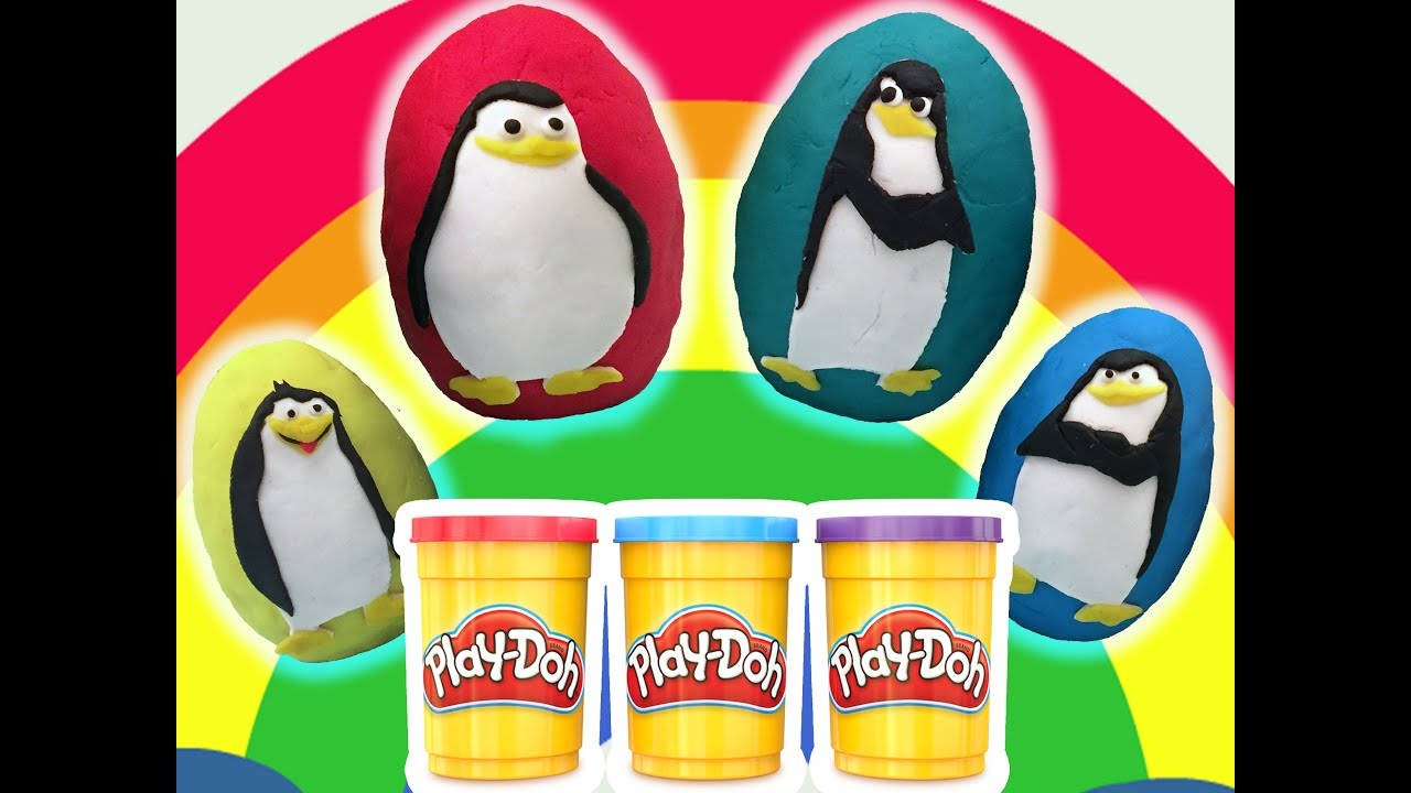 The Penguins Of Madagascar Play Doh Surprise Eggs !!! Kinder Ozmo Surprise Eggs Unboxing Toys