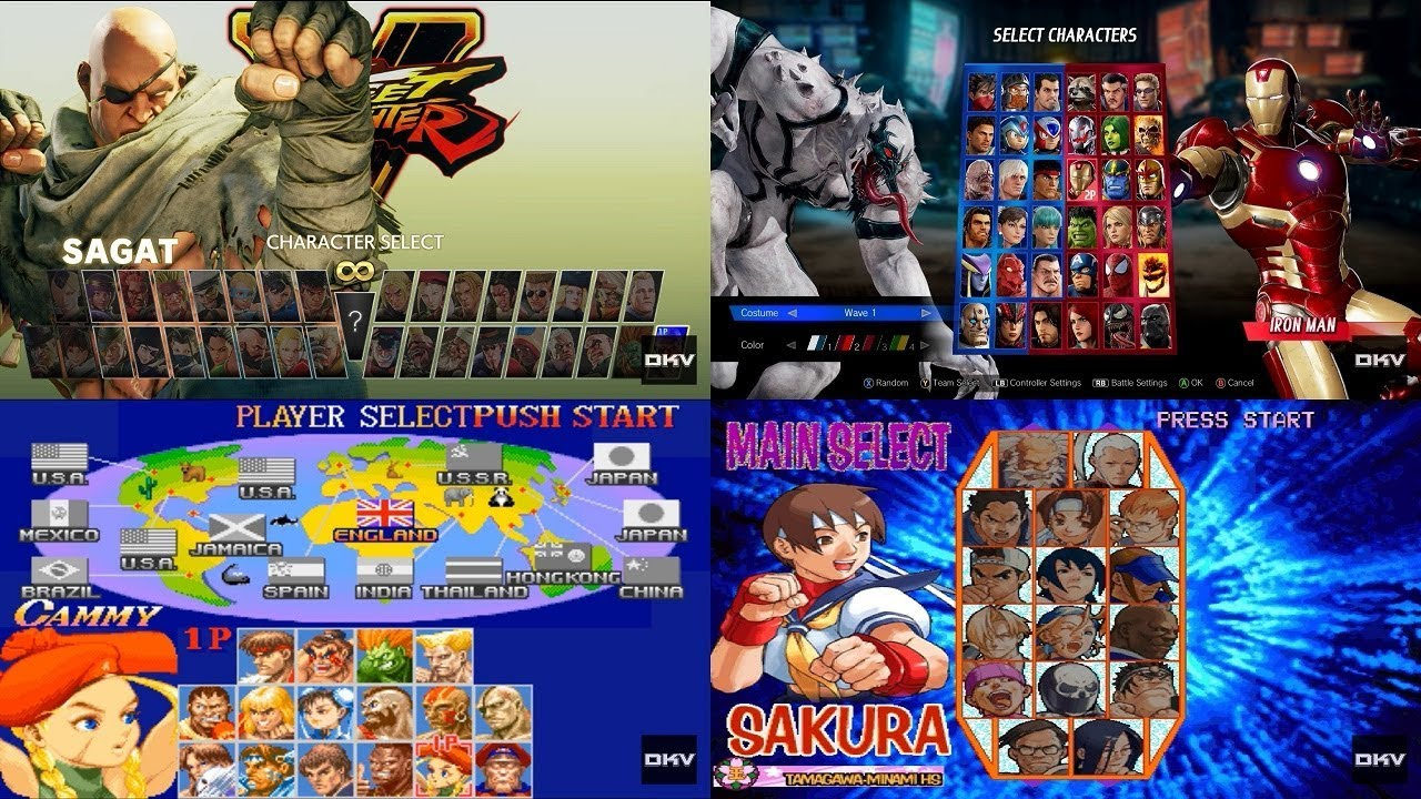 Street Fighter Mvc Evolution Of Select Screen 1987 2018 Youtube
