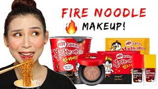 🔥 Testing Fire Noodle Makeup Whilst Eating Fire Noodles 🔥🍜  - TINA TRIES IT