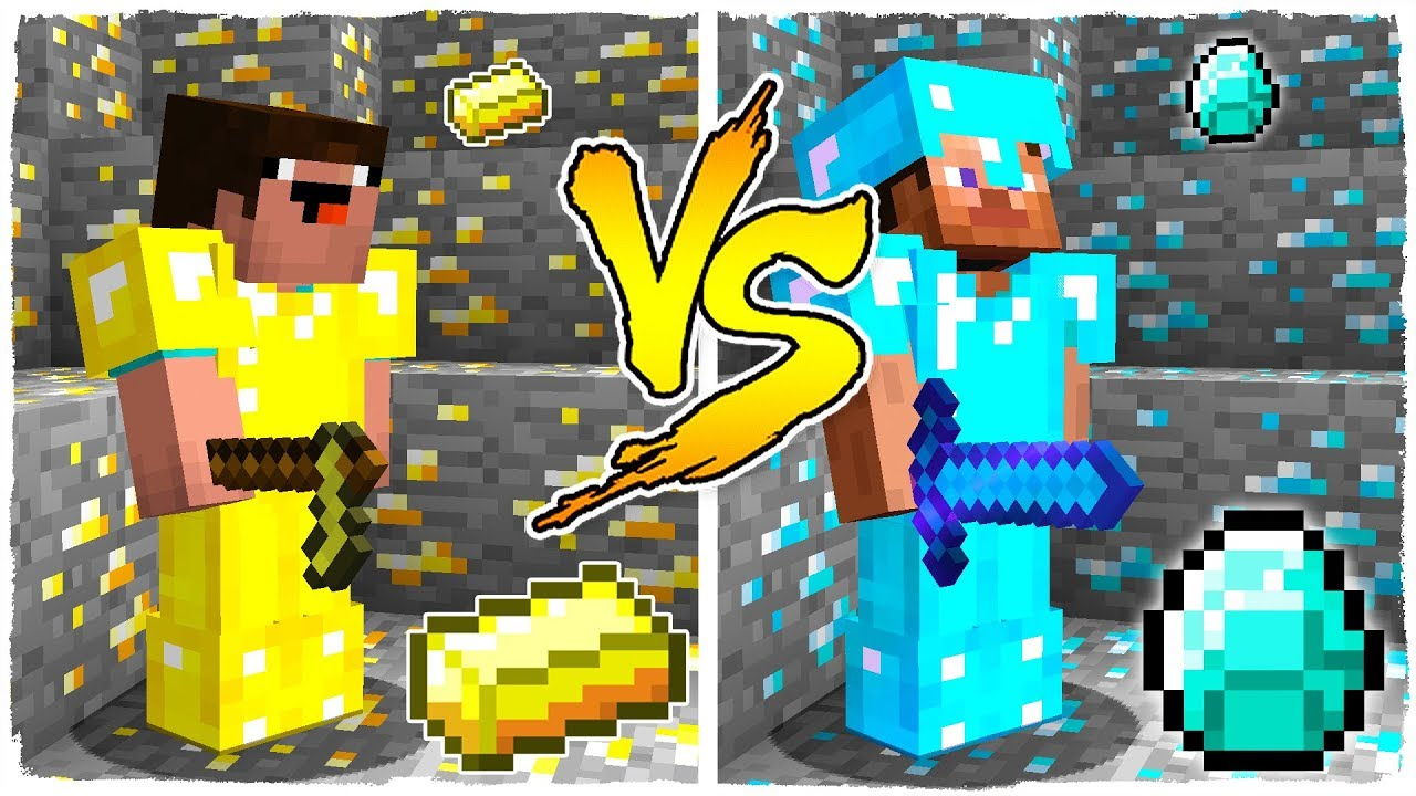Minecraft Noob Vs Pro Batalla De Oro Y Diamante