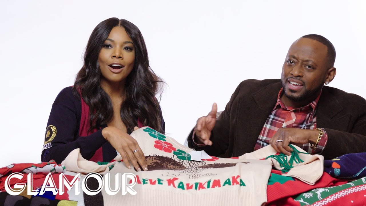 Gabrielle Union Tries On Ugly Christmas Sweaters | Glamour - YouTube