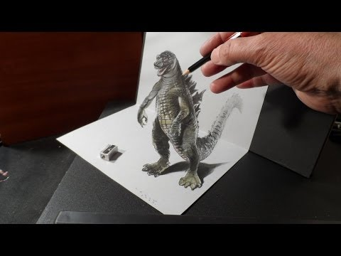 Drawing 3D GODZILLA - How to Draw 3D MONSTER - Trick Art on Paper - VamosART