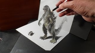 Drawing 3D GODZILLA - How to Draw 3D MONSTER - Trick Art on Paper - VamosART