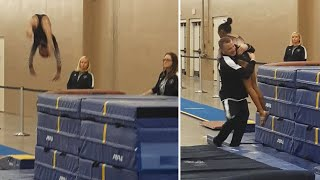 Coach Catches 9-Year-Old Gymnast Just in the Nick of Time