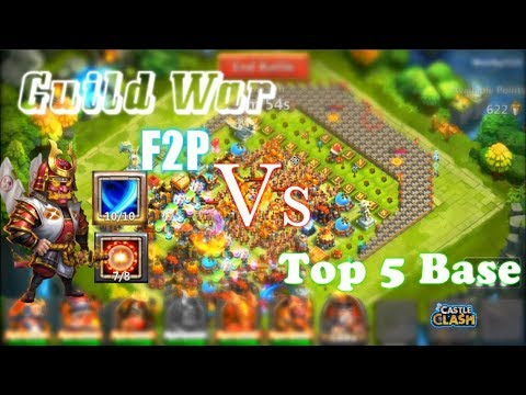 F2P Guild War Strategy Vs Top 5 Base Gameplay Castle Clash