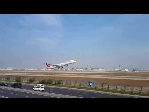 Turkish Airlines B777-300ER Nice Take-Off from Atatürk Airport LTBA Istanbul 18/11/17 by Faruk