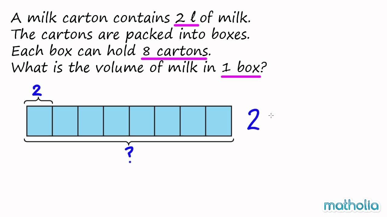 word problems with bar models multiplication of volume youtube. Black Bedroom Furniture Sets. Home Design Ideas