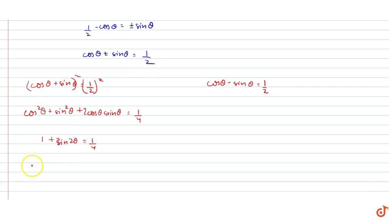 If `sin(pi cos theta)=cos(pi sin theta)`, then `sin 2theta ...
