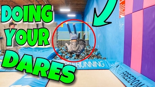 DOING YOUR DARES AT SUPER TRAMPOLINE PARK // (FAILS, CRAZINESS, AND MORE!)