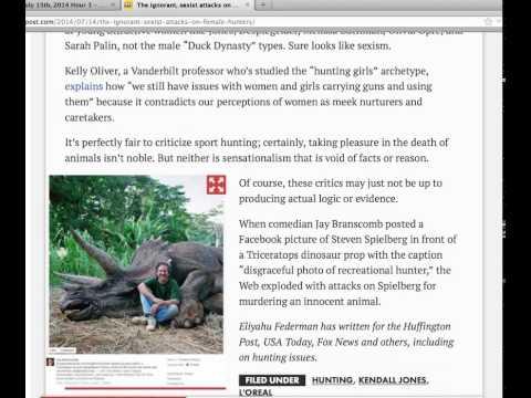 Sean Hannity Show July 15, 2014 NY Post Column Attacks on Female Hunters