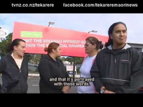 Some Maori angry with Air NZ billboard Te Karere TVNZ 10 Jun 2010.wmv