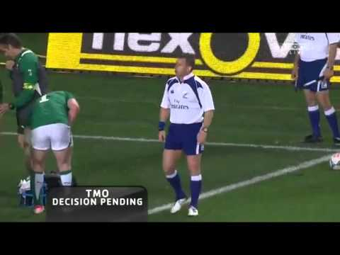 Brian O'Driscoll try saving tackle on Keiran Read Ireland vs New Zealand Rugby June 2012