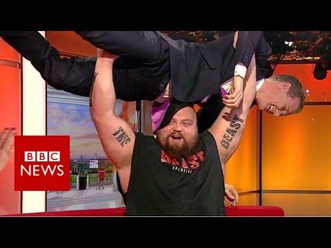 World's strongest man v BBC presenter - BBC News