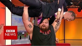 World's strongest man v BBC presenter - BBC News