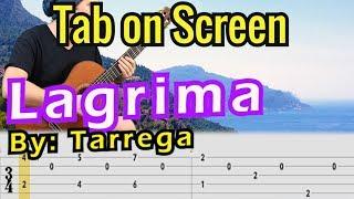 Lágrima - Francisco TÁRREGA // Guitar Tab on Screen // Classical Guitar