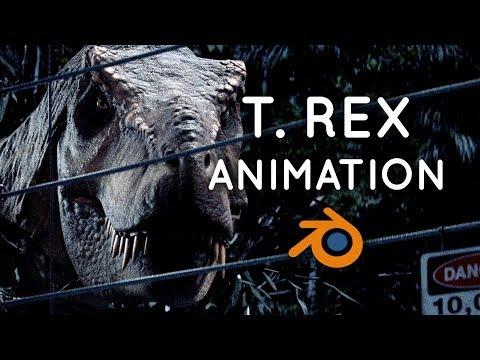 Jurassic Park T. Rex Animation / VFX Breakdown | Blender 2.80