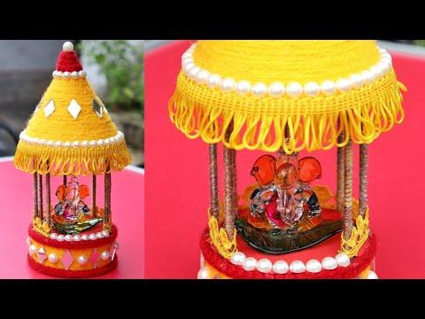 DIY: Recycled woolen Temple at home | Ganesh Mandap | Ganpati Makhar Making | woolen Mandir
