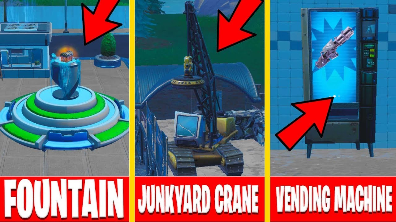 Fortnite spray fountain, junkyard crane and vending machine