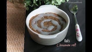 Microwave oats cinnamon roll mug cake