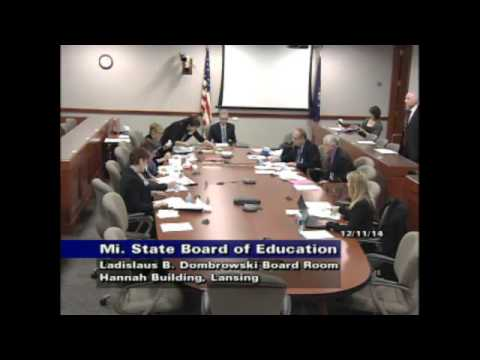 Michigan Department of Education Special Meeting for December 11, 2014
