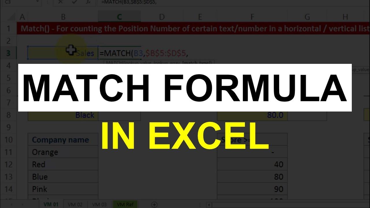 Match Formula In Excel Excel Formulas