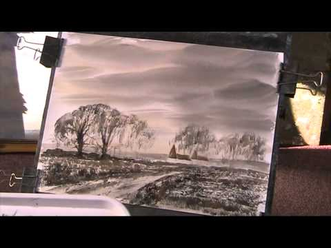 Tone Study in Lamp Black and Burnt Sienna watercolour
