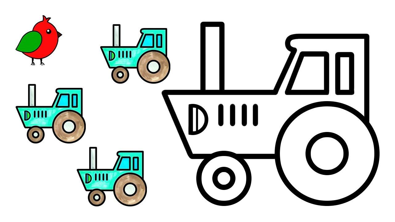 Как нарисовать синий трактор /раскраски - YouTube