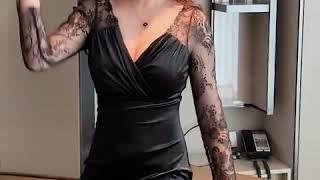여성 시스루 레이스 소매 섹시 원피스 홀복 클럽의상 섹…