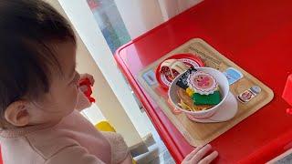 お腹が減って寝れない!アンパンマンラーメンセットのおもちゃでおままごと!Anpanman Noodle Toys
