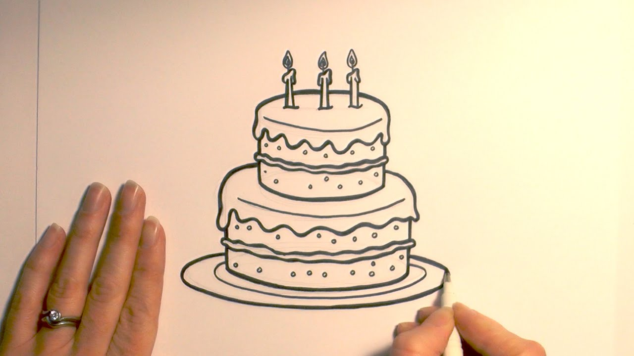 Pictures Of Birthday Cakes Drawings : How to Draw a Birthday Cake - YouTube