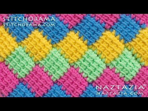 How To Crochet Entrelac - Tunisian Interlaced Patchwork Diamonds Entrelec By Naztazia