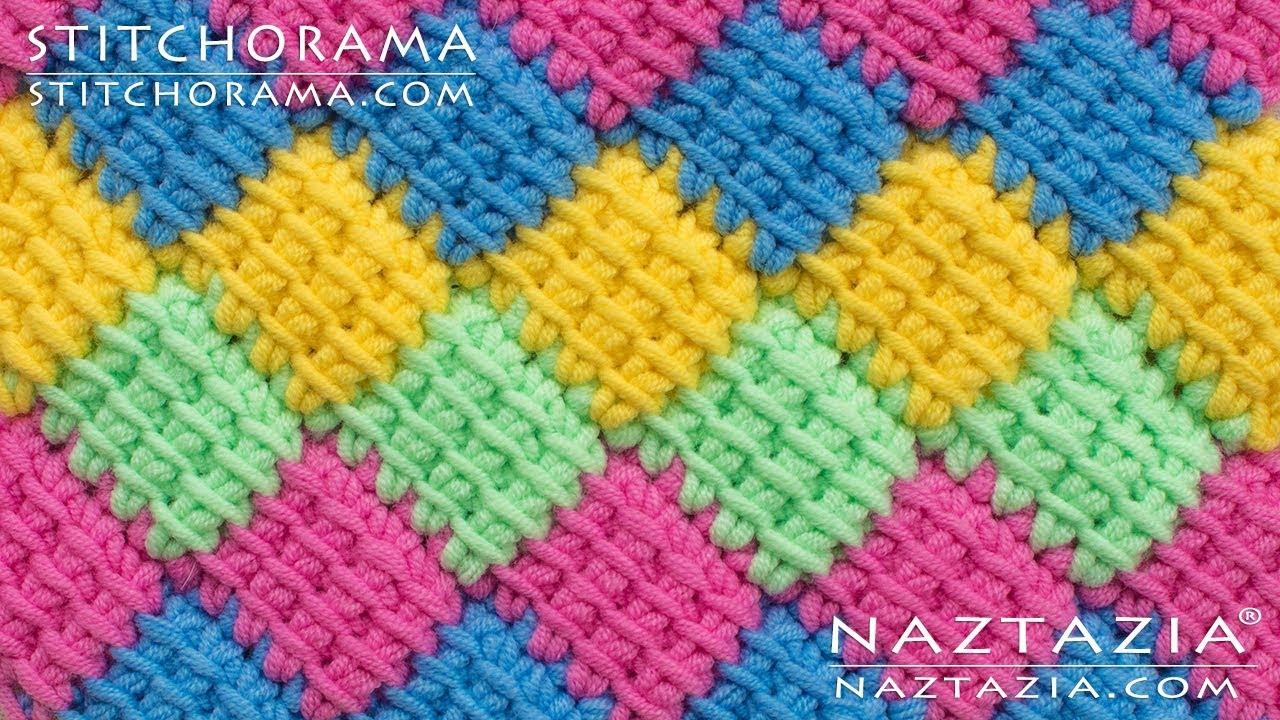 How To Crochet Entrelac Tunisian Interlaced Patchwork Diamonds