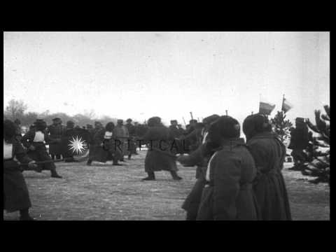 Russian General Grand Duke Nicholas watches the Russian soldiers practice a bayon...HD Stock Footage