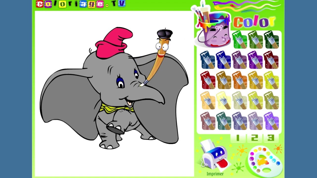 Игра раскраска Слоник дамбо для детей - YouTube