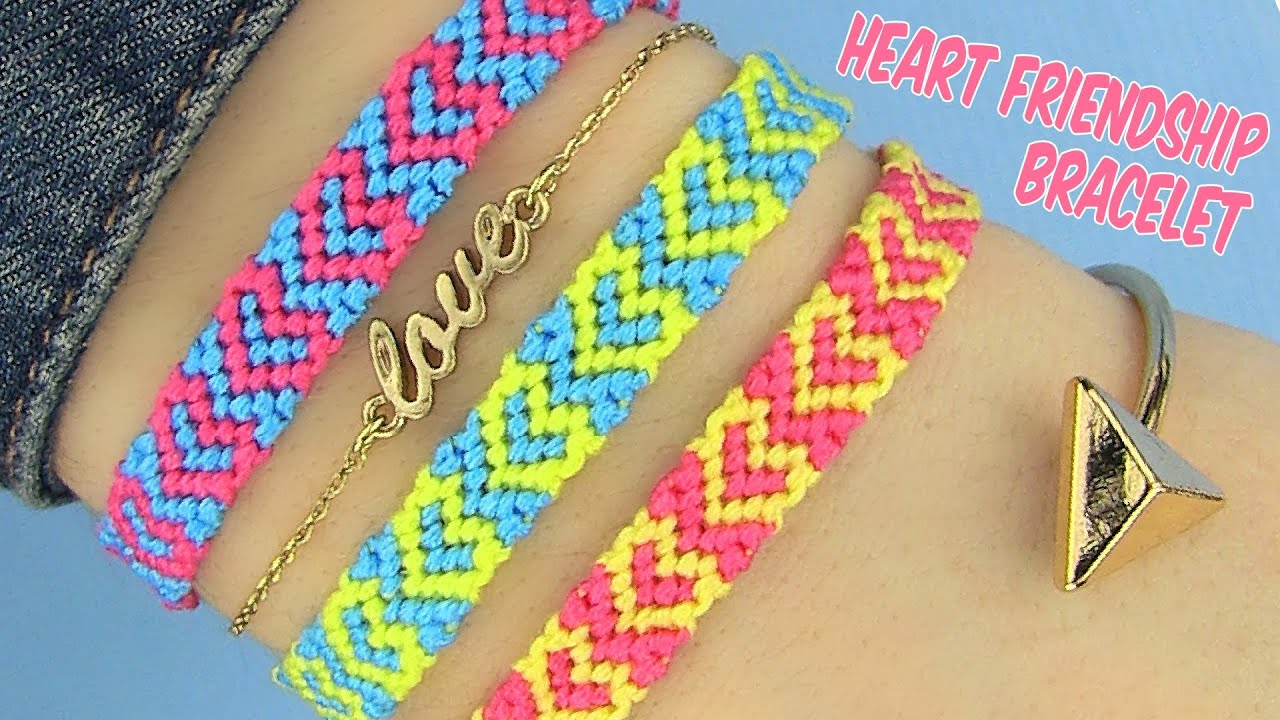 Diy Heart Friendship Bracelets Youtube