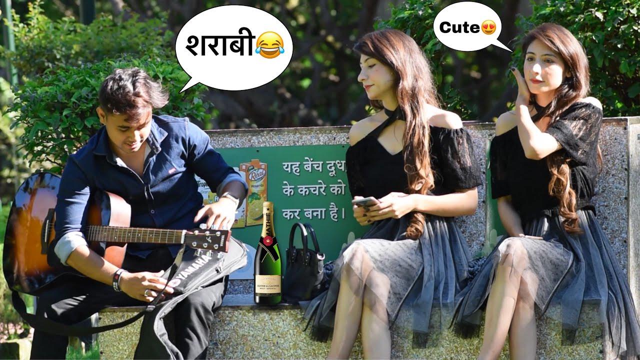 Sharabi (शराबी) Singing Heart Broken Mashup In Public   Impressing Prank On Cute Girl   Jhopdi K