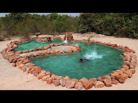 Build the Wonderful Giant Swimming pool By Natural Mountain Stone