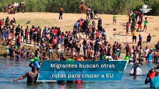 Este lunes se vieron decenas de migrantes cruzar el río que separa México de Estados Unidos por otra zona conocida como el Embarcadero y por el lado del Parque Braulio Fernández Aguirre, aunque este último fue cerrado por autoridades para impedir el flujo