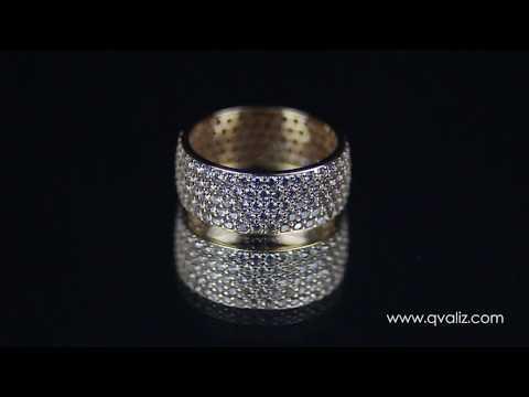 Широкое золотое кольцо с белыми фианитами - K00003