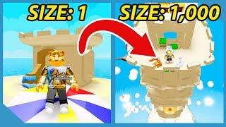 Building The Biggest Sand Castle In Roblox Sandcastle Simulator
